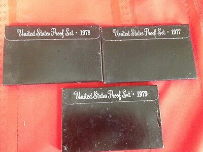 US Mint Proof Coin Set 1977,1978, 1979  All 3 sets for one Price.