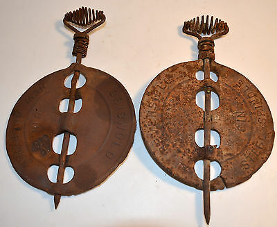 "Antique Griswold Dampers Cast Iron 6"" Diameter Reversible Set of 2"