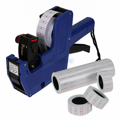 Blue MX-5500 8 Digits Price Tag Gun + 5000 White w/ Red Lines Labels + 1 Ink US