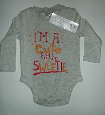 Grey Short Sleeved Bodysuit with 'I'm a Cute Little Sweetie' detail