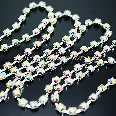 Chain Crystal AB Iridescent Rhinestones Diamond Silver CUP SEWING 3mm 4mm 5mm