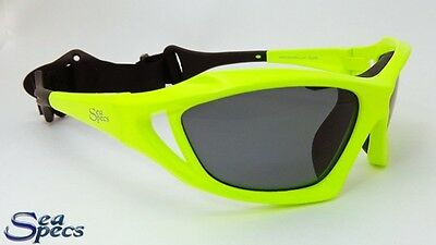 SeaSpecs Polarized Stealth Neon Green Water Sport Sunglasses FREE CASE