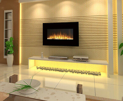 "1500W 35"" Black Wall Mounted Electric Fireplace, Fire, Heater,  Flame"