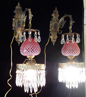 PAIR ** Vintage Fenton Cranberry Art Glass lamps tulip lily Bronze Brass Sconces
