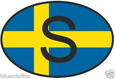 S Sweden Country Code Oval With Flag Sticker Laptop Toolbox