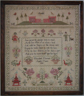 1843 Country Scene Sampler by Elizabeth Mattock