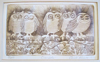 VINTAGE 1972  MODERNISM OWLETS OWL PERCHED BIRDS WILDLIFE PENCIL SIGNED ETCHING