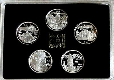 1993 China Silver Proof 10 Yuan 5 Homeland Scenery Coin Set