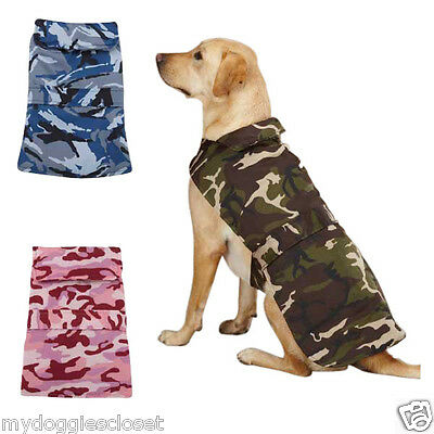 Dog Barn Coat - Repels Wind Water Pink Blue or Green Camo 2 Velcro Straps