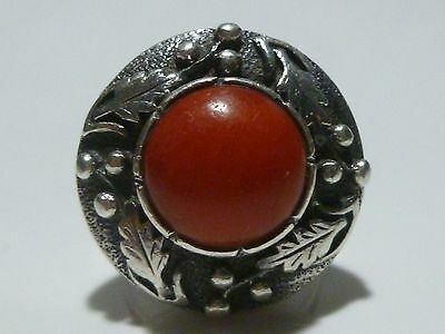 VINTAGE FOREIGN EUROPEAN STERLING SILVER & CORAL ESTATE DECO RING BAND SIZE 7