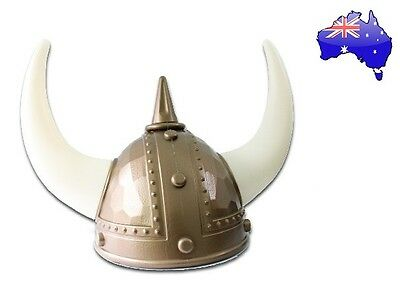 Gold Viking Norse Raider Helmet with Horns Medieval Roman Gladiator Party Hat