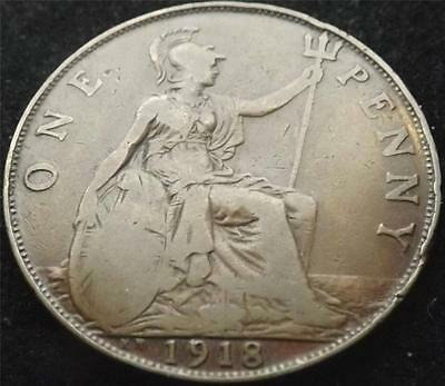 1918-Kn George V One Penny 1-D Coin Collectable Date