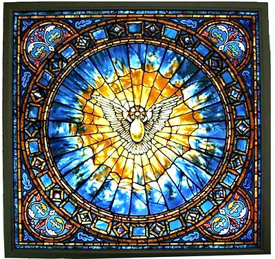 """CHRISTIAN GIFT: """"THE HOLY SPIRIT"""" large 10.5"""" Square Stained Glass Panel, NEW"""
