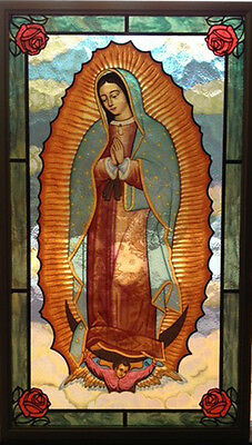 "CHRISTIAN GIFT: Glassmasters ""Our Lady of Guadalupe"" 8""x14""  Stained Glass NEW"