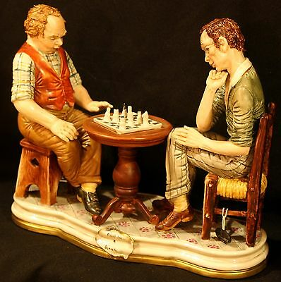 """Chess Game""  Bertolotti~Capodimonte Vintage Great Rare Figure ~ Friends Playing"