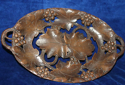 Treen Wooden Carved Tray with Leaves and Flowers c.1940