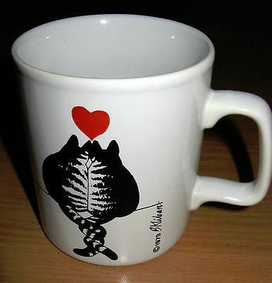 Vintage 1979 B. Kliban Cat Lovers Red Heart Kiln Craft Mug England 10 oz