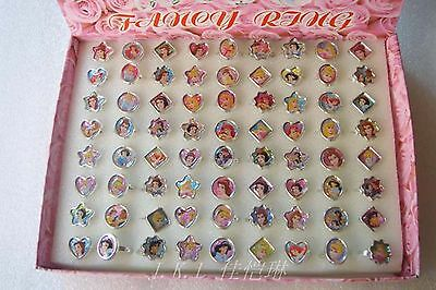 Wholesale 72 pcs Snow White Princes Plastic Rings Kids Girl Birthday Party Gifts
