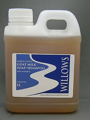 Liquid Castile Goats Milk Soap/ Shampoo 100% Natural Unscented 1 L Incl P&h