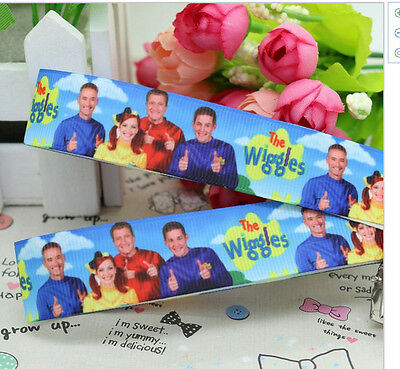 The Wiggles ribbon for gift wrapping, hair tie or scrapbooking (blue) 25mm wide