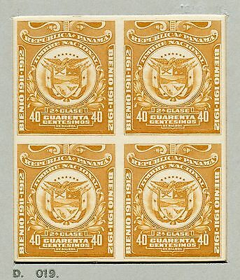 PANAMA-1911-12 40c REVENUE IMPERF Plate Proof sheet 4 SCARCE Ex Waterlow V3329