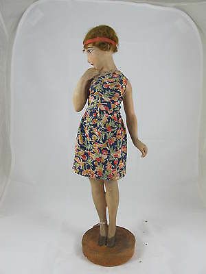 Art Deco Plaster Figure Of Olympia Girl C1920's With Real Clothing