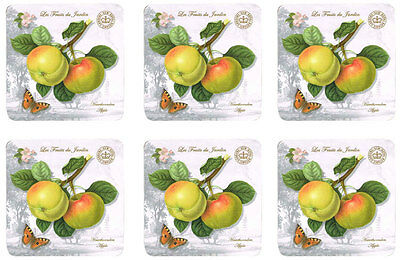 Les Fruits du Jardin Apple Kew Gardens Set of 6 Cork Backed Drink Coasters New