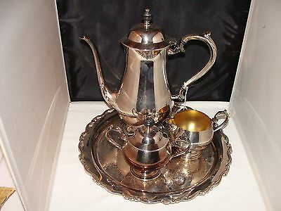 ONEIDA Silverplate Teaset Teapot Sugar Creamer & Tray Beaded Footed 1980 $167.15