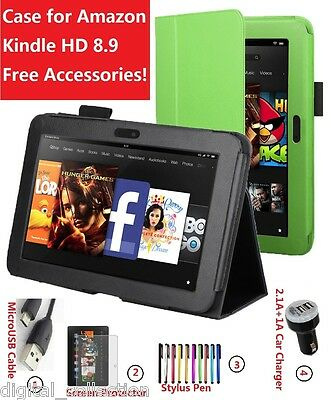 Folio Leather Smart Case Cover for Amazon Kindle Fire HD 8.9 Free Accessories