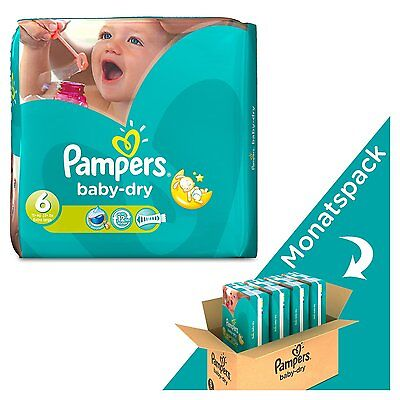 Pampers Baby Dry Size 6 Extra Large Monthly Pack 124 Nappies/Brand New/UK Seller