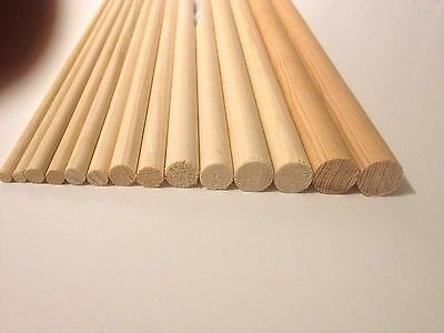 WOODEN DIY DOWELS CRAFT STICKS POLES 30cm or 60cm FREE POST SWEET TREE ROD RAIL