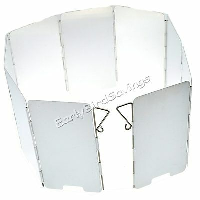 9 Plates Aluminum Foldable Camping BBQ Stove Windshield Screen