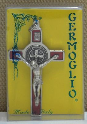 St Benedict Crucifix, All Metal With Red Enamel Inlay 80mm x 45mm New Boxed