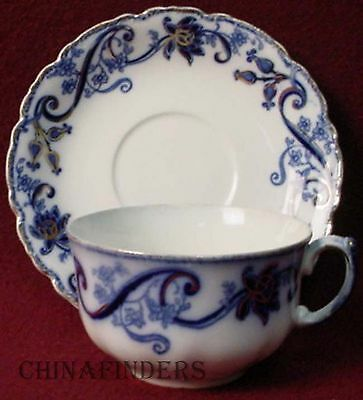 """JOHNSON BROTHERS china ANDORRA flow blue CUP & SAUCER Set 2-1/4"""" x 3-3/4"""" Cup"""
