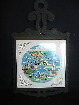 Old Vintage Collectable Virginia Beach Convention Center trivet  four pegs