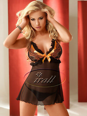 Cami-Set Negligee Babydoll,String schwarz/orange Dessous Nachtkleid S/M L/XL