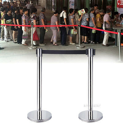 2 x Crowd Control Queue Line Stanchions Posts Barriers With Retractable Belt