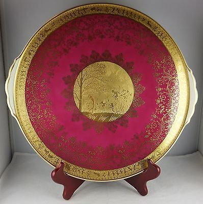 Mayer Wiesau Gold Encrusted Crimson Cabinet Plate - Nymphs, Fairies - Exquisite