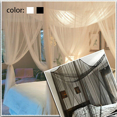 Mosquito Net Four Corner Bed Canopy Bug Queen Full King Size Insect Black/White