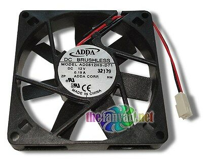 "Adda 80mm x 15mm Slim 12 Volt Fan w/ 2 Pin Connector AD0812HS-D71 3"" Wires"