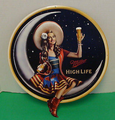 """Miller High Life Lady On The Moon 19"""" X 16"""" Embossed Metal Sign New"""