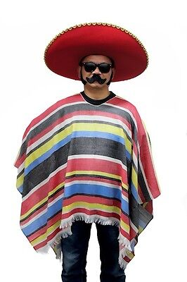 Mens Adult Mexican Poncho Wild West Cowboy Bandit Blanket Fancy Dress Costume