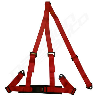 Red 3 Point Racing Seat Belt Harness For Car/track Day/off Road Buggy New