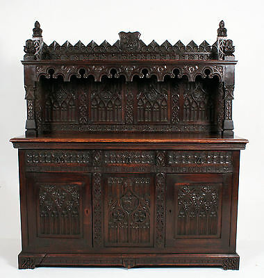 Rare C19th Antique Victorian Edwards & Roberts Gothic Carved Oak Sideboard