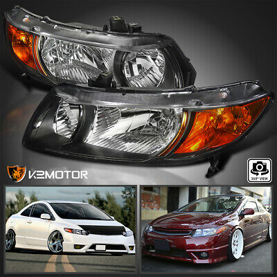 2006-2011 For Honda Civic Coupe 2Dr Headlights Head Lamps JDM Black Left+Right