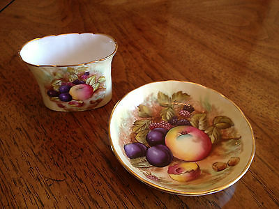 AYNSLEY ORCHARD GOLD FRUIT TOOTH PICK HOLDER AND SMALL SAUCER