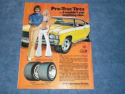 """1973 Pro-Trac 50's Tires Vintage Ad """"I Wouldn't Run Anything Else"""" '72 Chevelle"""