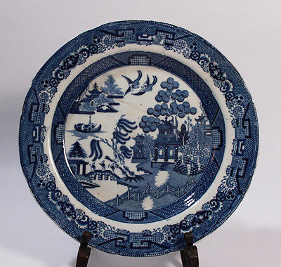 """ANTIQUE RILEY'S SEMI CHINA PLATE """"WILLOWS"""" PATTERN STAFFORDSHIRE BLUE WHITE"""