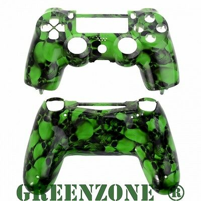 Big Green Skull Replacement Hydro Dipped Custom PS4 Controller Shell Mod Kit
