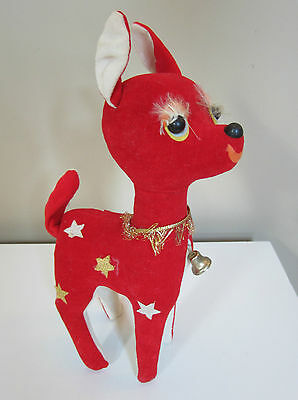 Vtg Plush-Stuffed Red Velvet Girl Xmas Reindeer~Long Lashes-Gold Collar,Stars